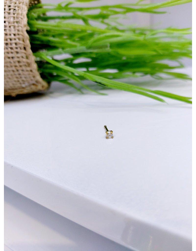 NRB0035 - Gold Stone Bone Nose Ring