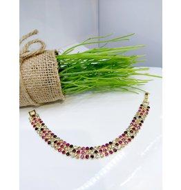 BCF0053 -  Gold Purple, Pink Bracelet