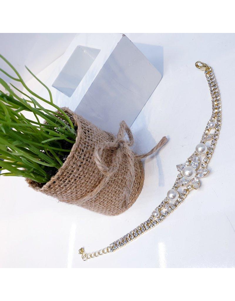 BCF0056 -  Gold Flower, Pearl Bracelet