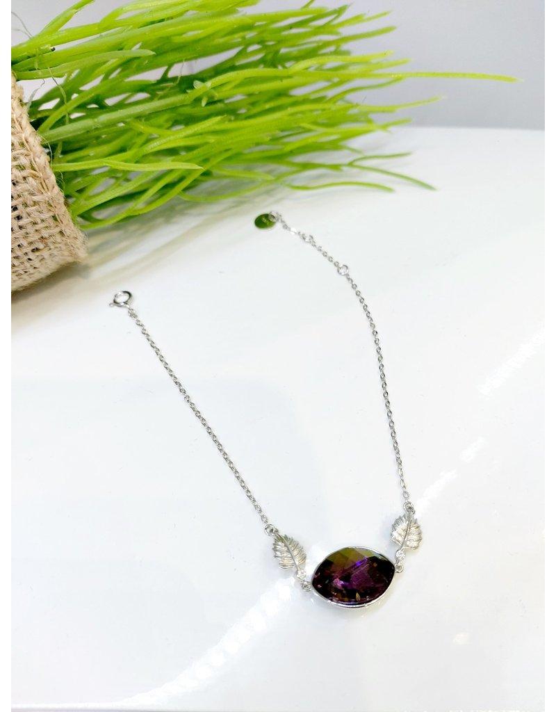 BCF0061 -  Silver Leaf, Purple Crystal Bracelet
