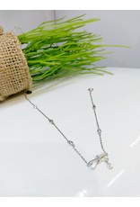 BCF0068 -  Silver Bow, White Bracelet