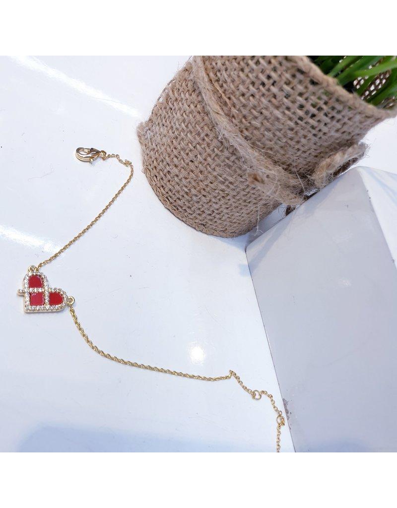 BCF0072 -  Gold Red, Heart Bracelet