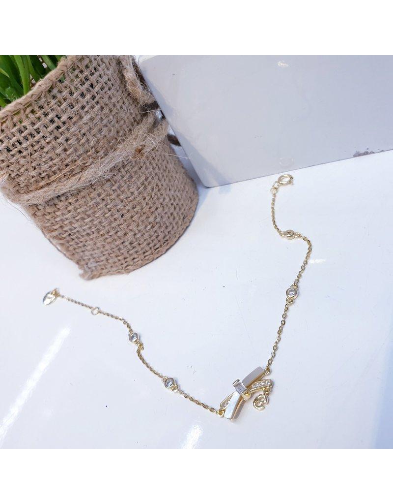 BCF0073 -  Gold Bow, White Bracelet
