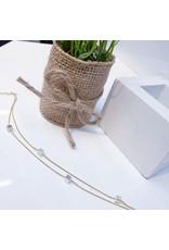 BCF0077 -  Gold Mother Of Pearl Square Crystal Bracelet