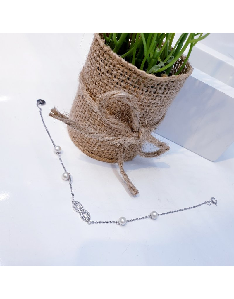 BCF0078 -  Silver Infinity, Pearl Bracelet