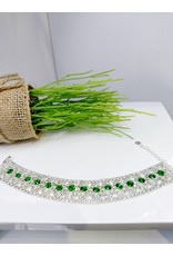 BCF0091 -  Silver Emerald Green Bracelet