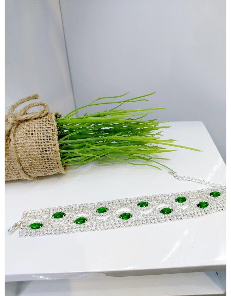 BCF0093 -  Silver Emerald Green Bracelet