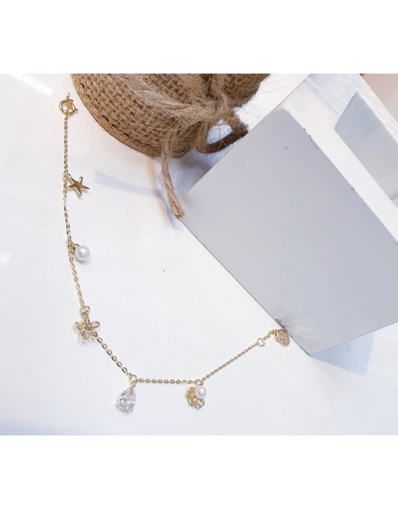 ANG0001 -  Gold Star, Crystal Anklet
