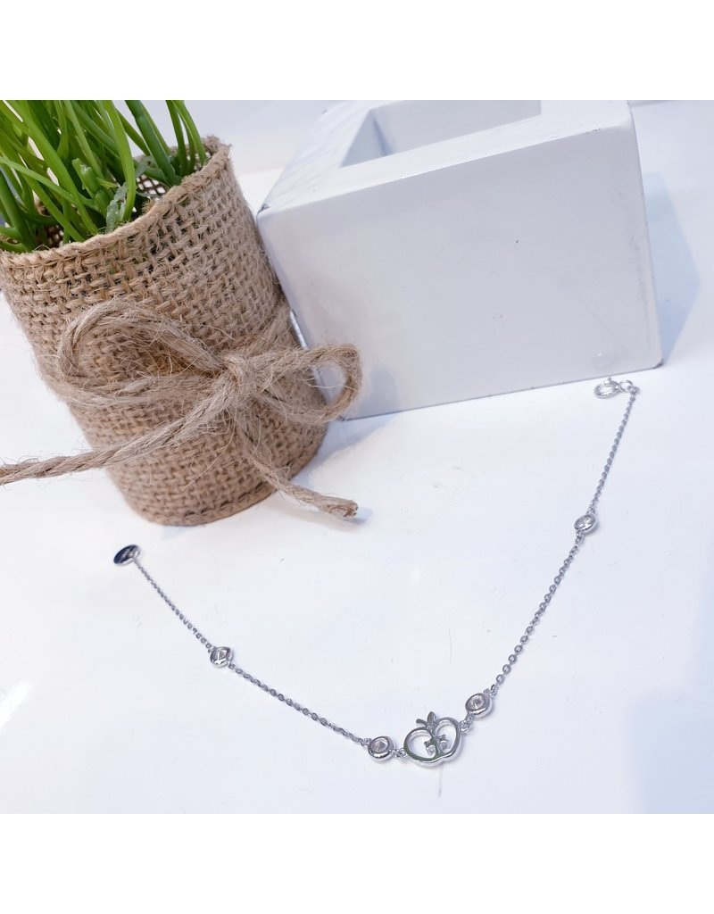 ANG0019 -  Silver Apple, Sterling Silver Anklet