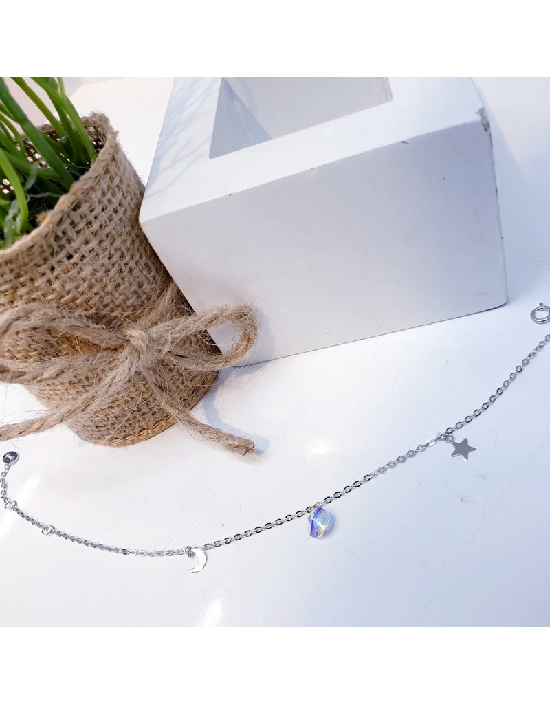ANG0022 -  Silver Moon, Star, Crystal, Sterling Silver Anklet