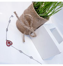 ANG0023 -  Silver Red, Heart Bracelet