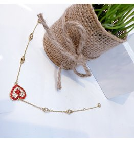 ANG0026 -  Gold Red, Heart Anklet