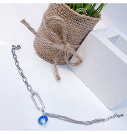 ANG0027 -  Silver Blue Anklet