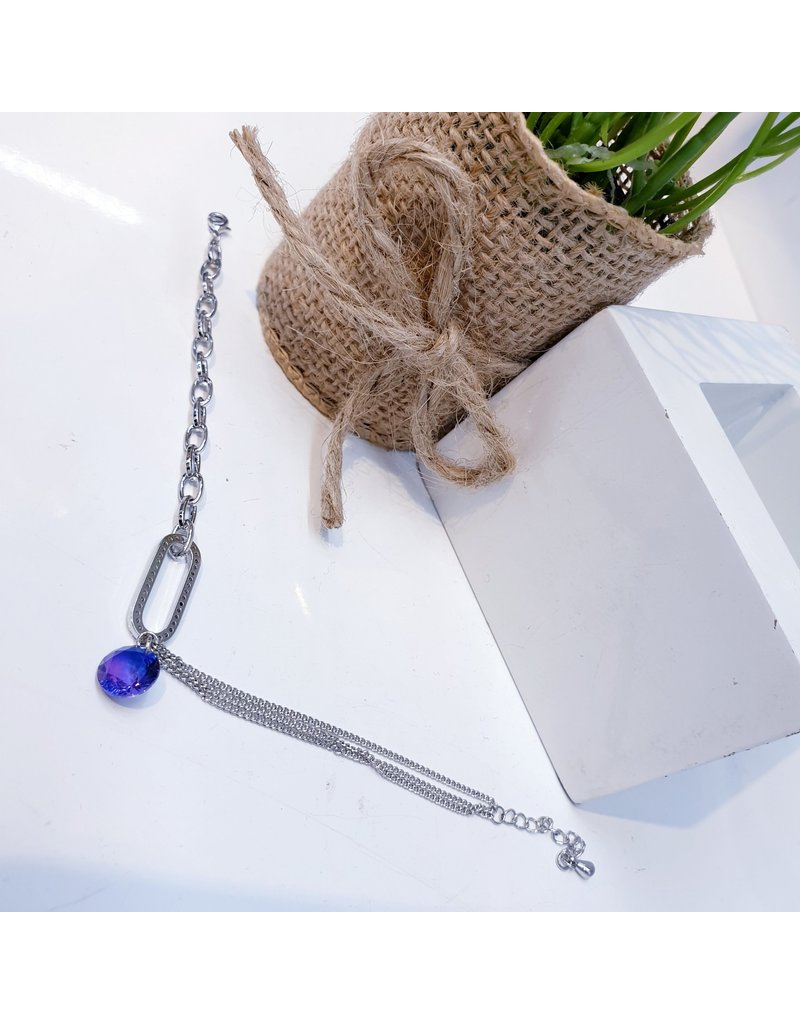 ANG0029 -  Silver Purple Anklet