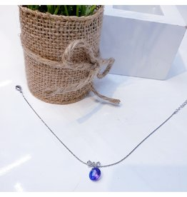 ANG0031 -  Silver Bow, Purple Anklet