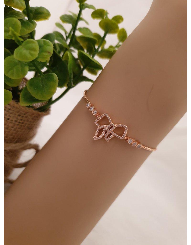 BJD0045-Rose Gold,Bow Adjustable Bracelet