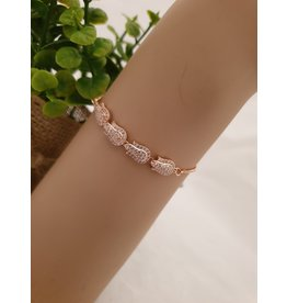BJD0121-Rose Gold,Flower Adjustable Bracelet