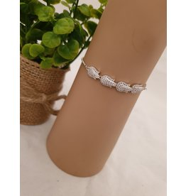 BJD0122-Silver,Flower Adjustable Bracelet