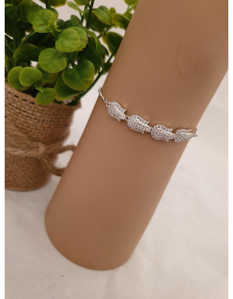 BJD0122-Silver,Flower Adjustable Bracelet