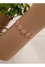 BJD0127-Rose Gold,Flower Adjustable Bracelet