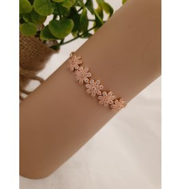BJD0127-Rose Gold,Flower Adjustable Bracelet
