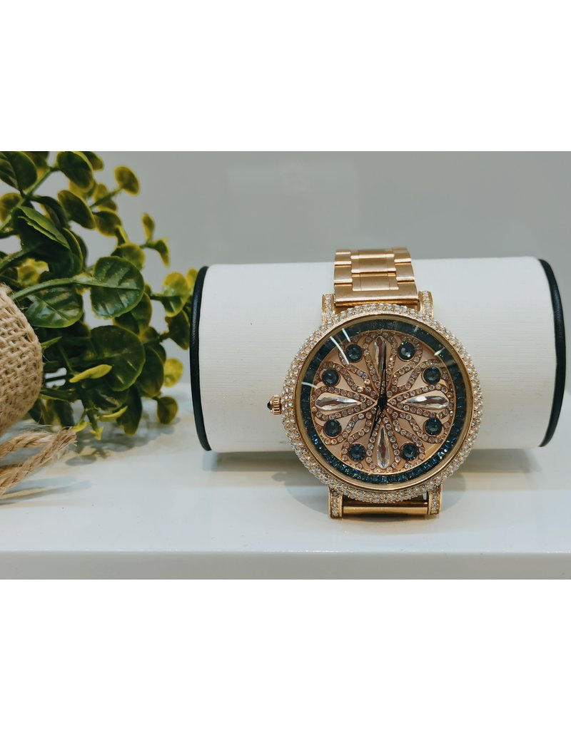 50250425 - Gold and Blue Watch With Metal Band