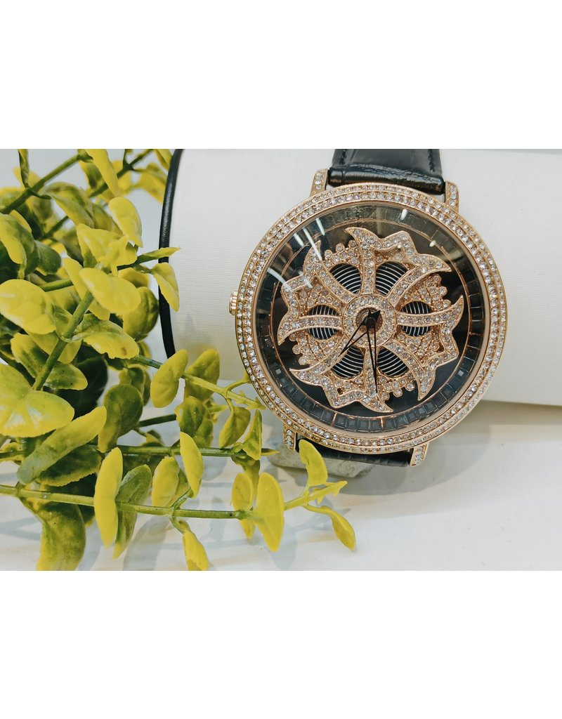 50256043 - Black and Gold Watch With Rotating Centre
