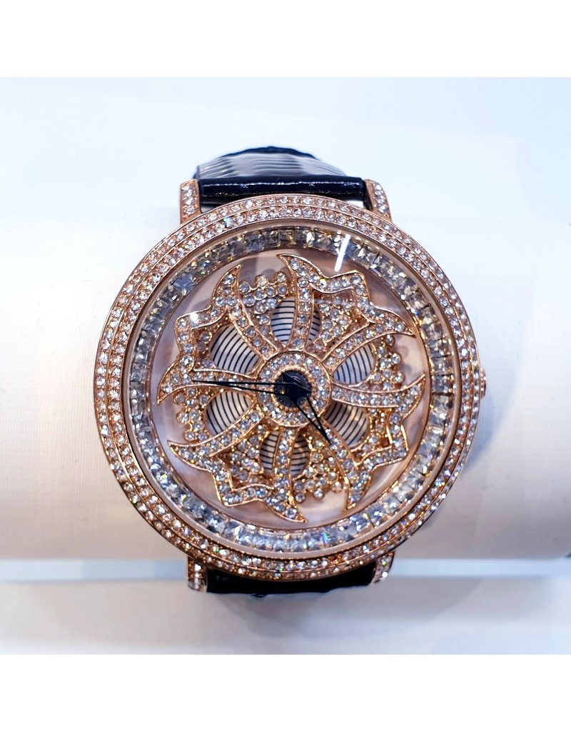 WTA0034 -Gold and Black rotating watch