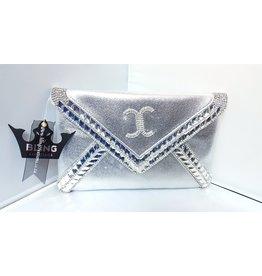 20240070 - Silver Envelope Clutch Bag