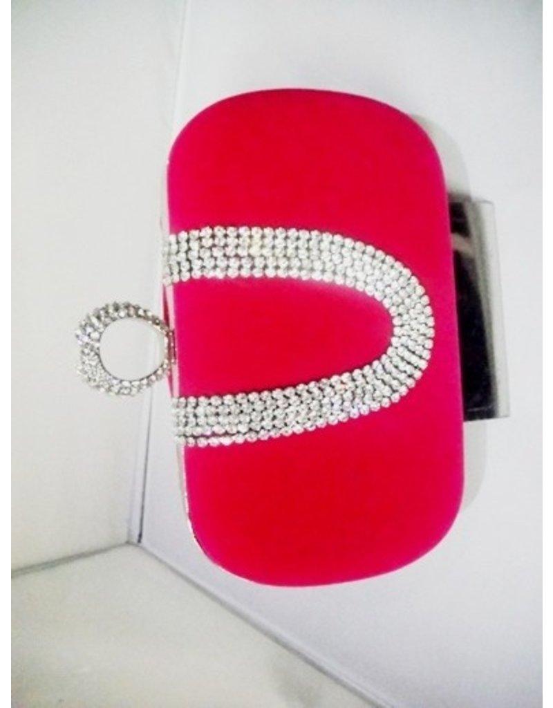 40240016 - Cerise Silver Clutch Bag