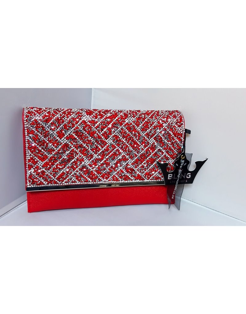 40240039 - Red Silver Clutch Bag