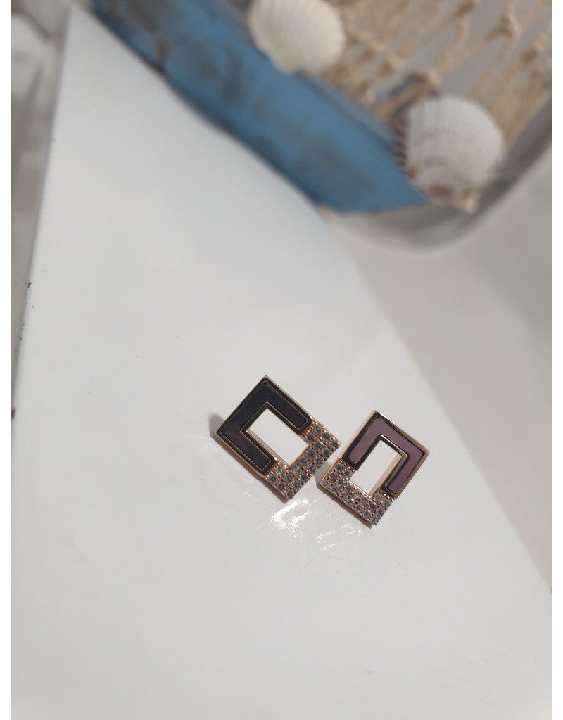 Ere0002 - Rose Gold Rectangle  Earring