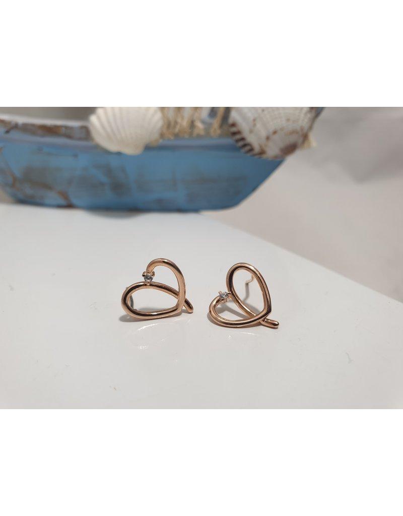 Ere0008 - Rose Gold Heart  Earring