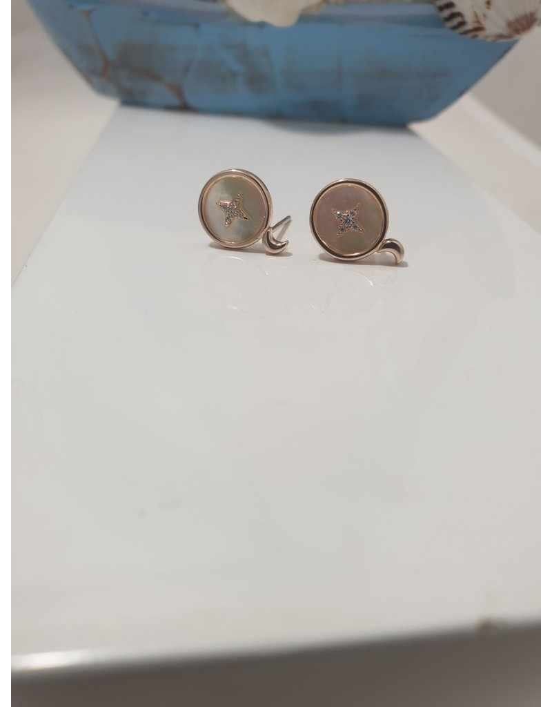 Ere0010 - Pearly Round With Star Rose Gold Earring