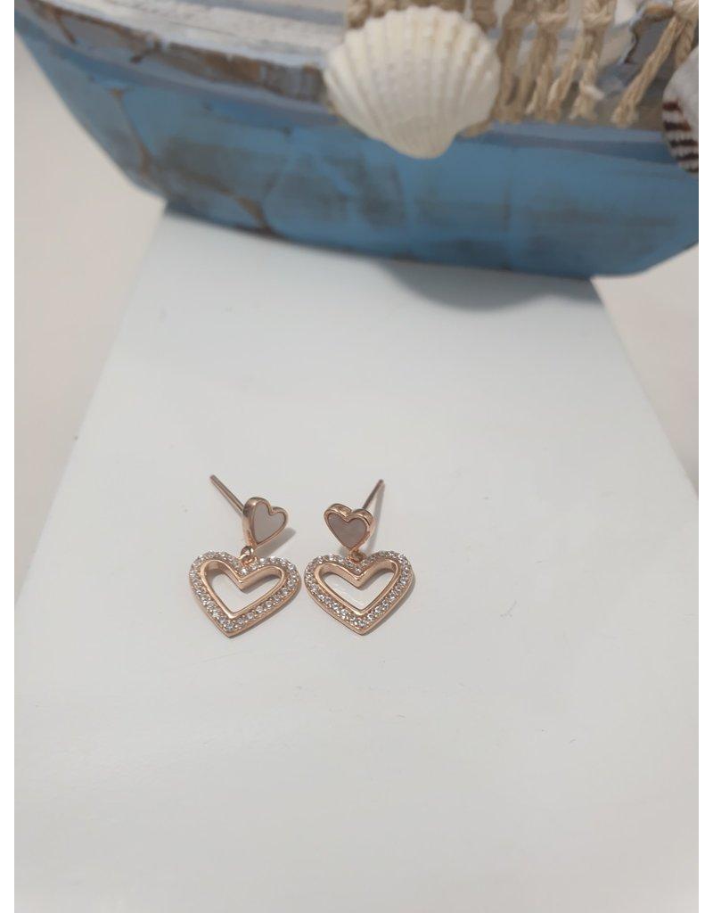 Ere0018 - Heart Rose Gold  Earring