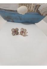 Ere0019 - Flower Rose Gold Cerise  Earring