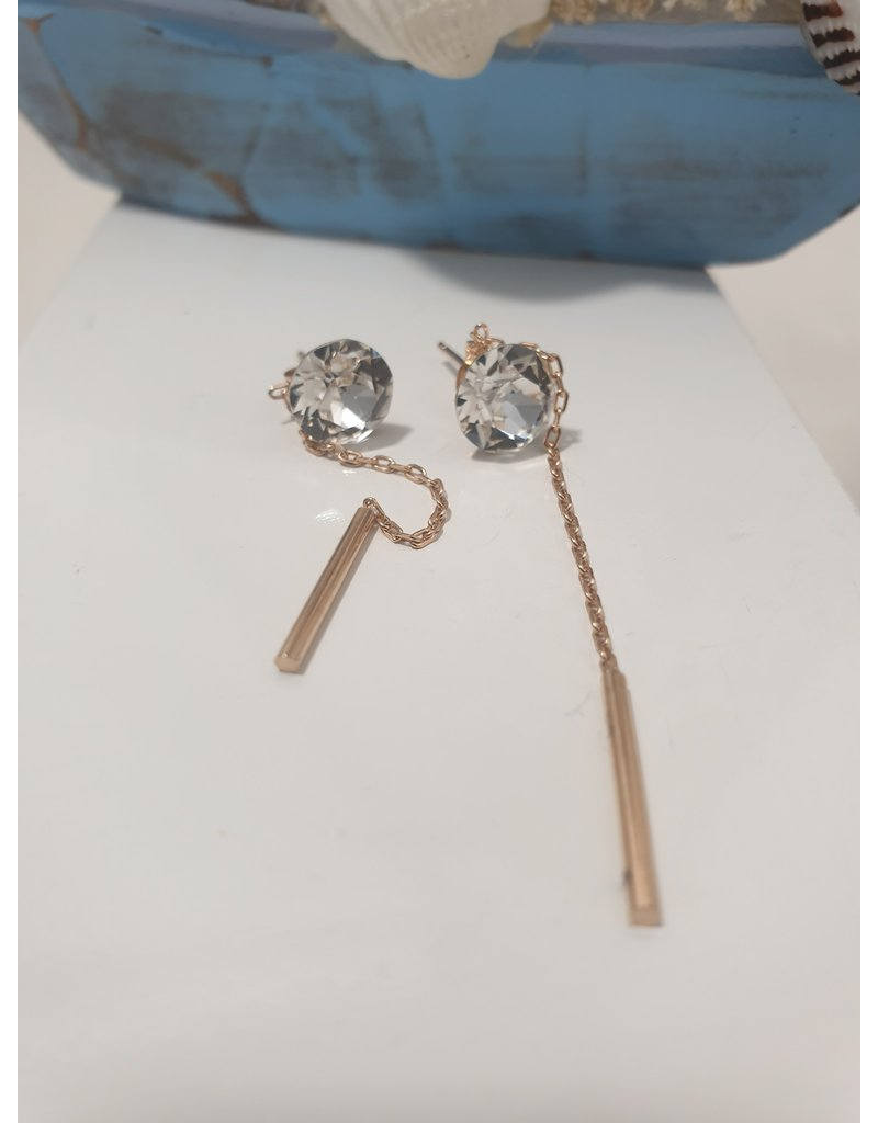 Ere0020 - Stone With Chain Rose Gold Earring