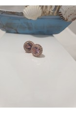 Ere0026 - Round With Pink Stone Rose Gold Pink  Earring