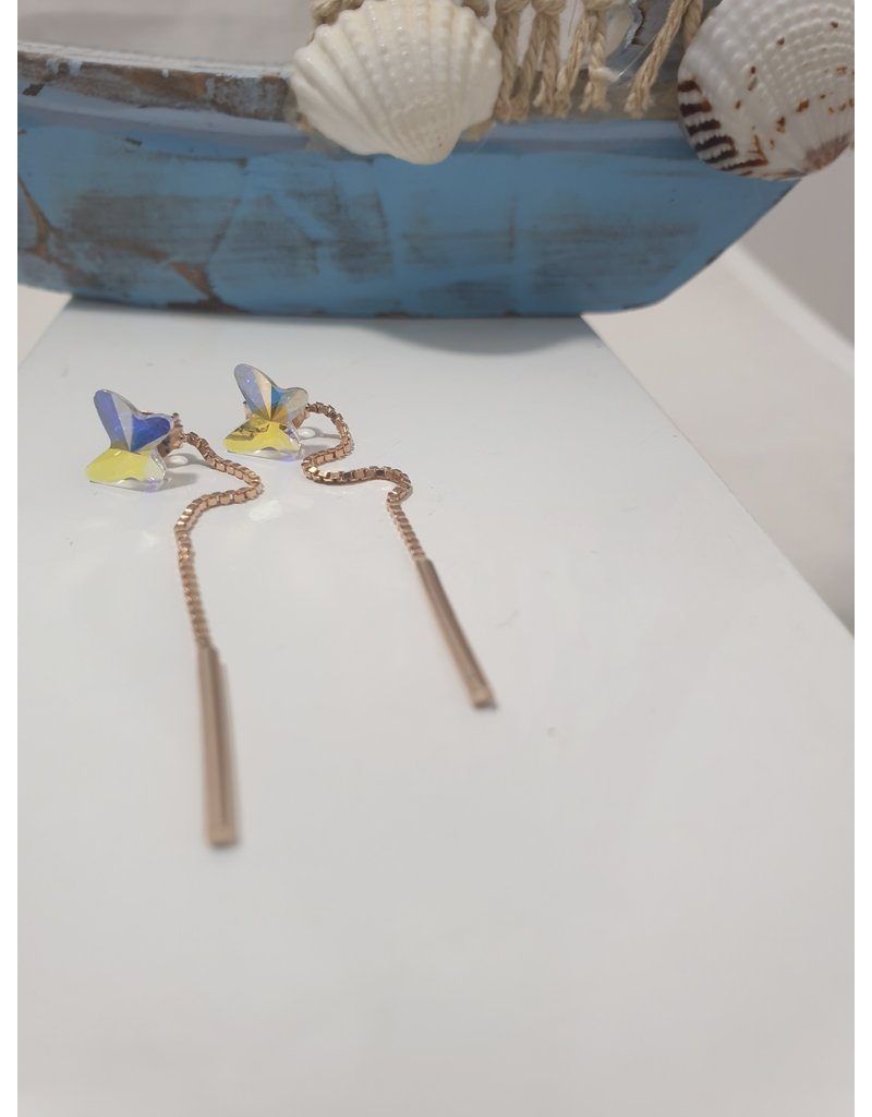 Ere0028 - Mop Star With Chain Rose Gold Earring