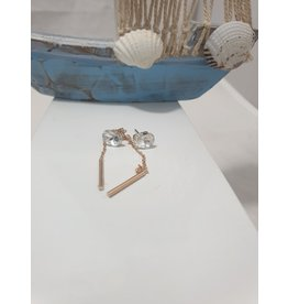 Ere0035 - Rec Stone With Chain Drop  Earring