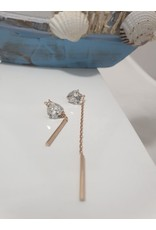 Ere0036 - Tri Stone With Chain Drop Rose Gold Earring