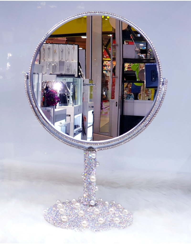 60260019 - Silver pearl round large Mirror