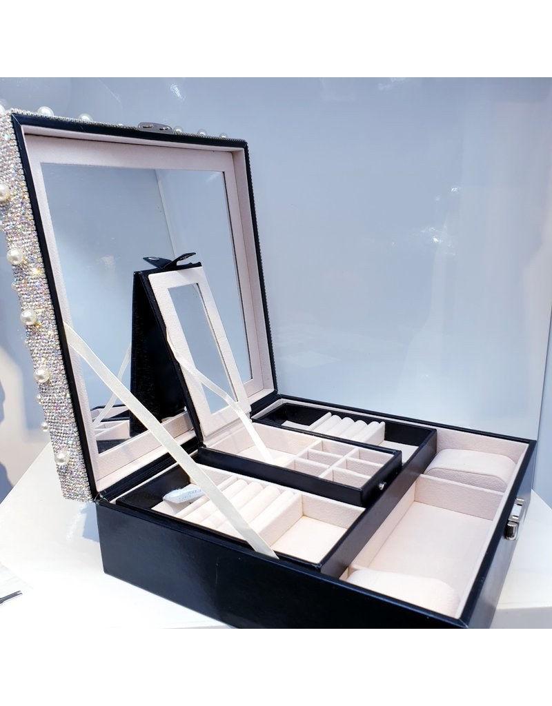 60262086 - Black Silver with Pearls Jewellery Box