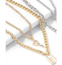 lcb0003 - Gold Multi Layer Necklace