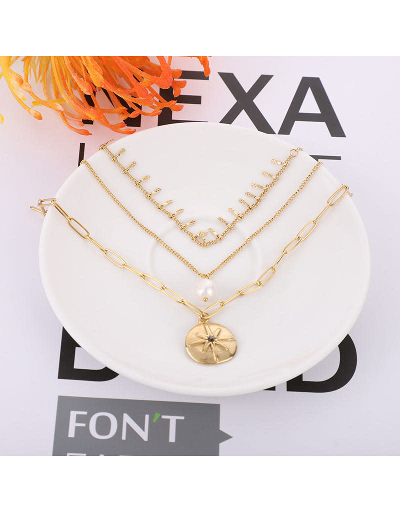 lcb0012 - Gold Multi Layer Necklace