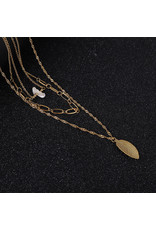 lcb0013 - Gold Multi Layer Necklace