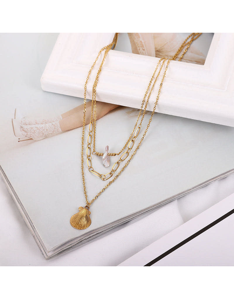 lcb0014 - Gold Multi Layer Necklace