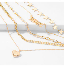 lcb0015 - Gold Multi Layer Necklace