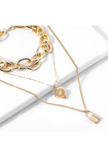 lcb0017 - Gold Multi Layer Necklace
