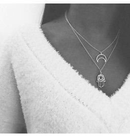 lcb0019 - Silver Multi Layer Necklace